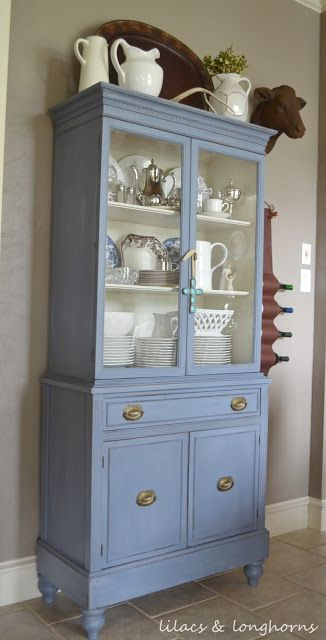 Beautiful china hutch painted in Annie Sloan Chalk Paint Old Violet.