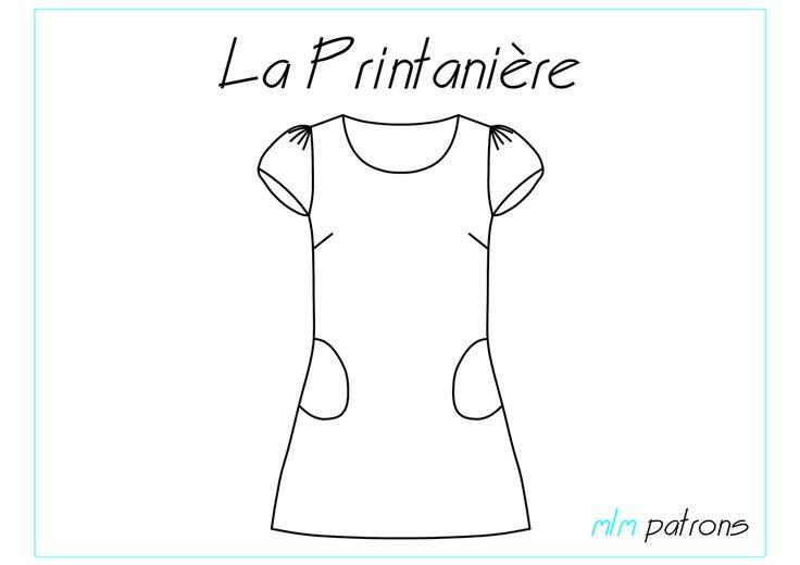 Patron fichier PDF, à imprimer au format A4. Planche patron + explications : 31 pages Une robe légère, une grande encolure, des manches froncées et...
