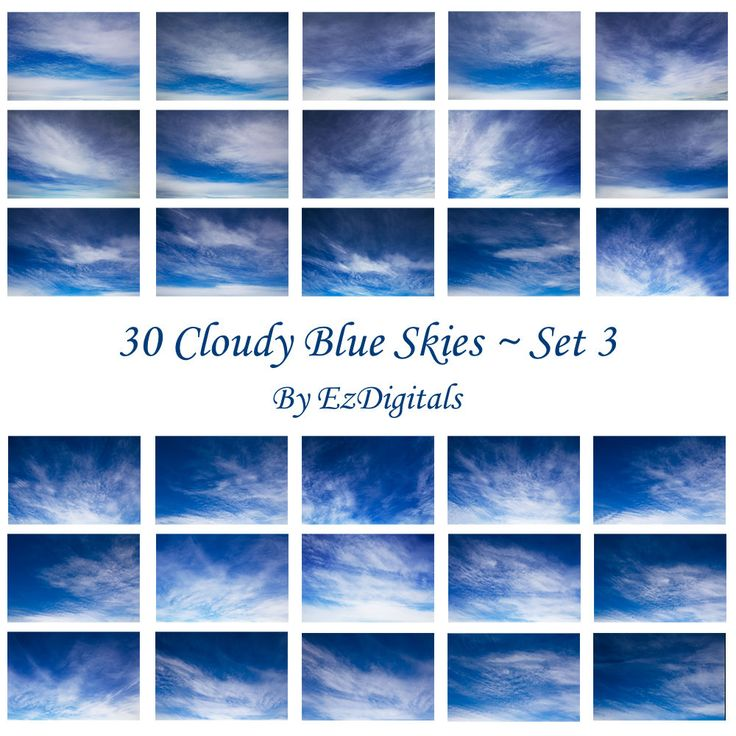 30 cloudy blue sky overlay photo replacements digital skies Set 3 by EzDigitals on Etsy