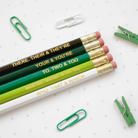 GRAMMAR Green Pencil Set. Ombre Coloured Pencils. Gift for English Teacher, Graduation Present. Colourful Retro Hex Gold Type Handmade UK