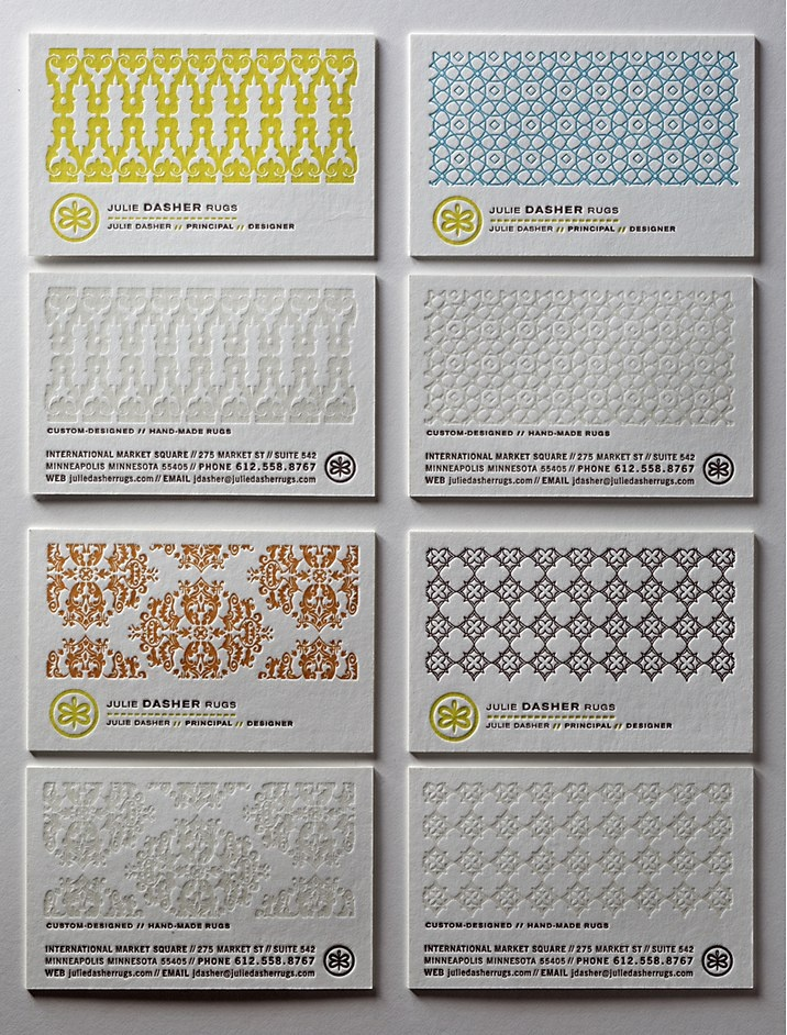 Julie Dasher Rugs business cards