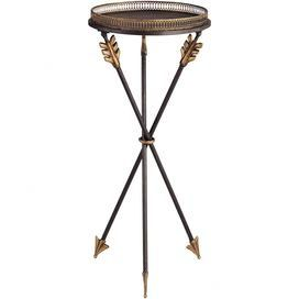 """Tray-top side table with gilt edging and an arrow-shaped tripod base.   Product: Side tableConstruction Material: Iron and firColor: Antique gold and blackFeatures: Gilt caged-edge tray topDimensions: 31.5"""" H x 14"""" DiameterCleaning and Care: Dust with clean, soft damp cloth. Wipe immediately. To protect the finish, avoid the use of all chemical and household cleaners, rough cleaning pads, polishes and abrasives as they may damage the finish."""