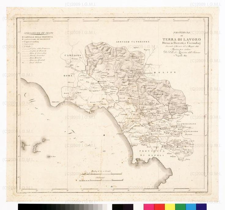 Atlante delle quindici provincie al di qua del Faro del Regno delle Due Sicilie - Carta Corografica delle prov. di Terra di Lavoro (Campania, Lazio) - 1816