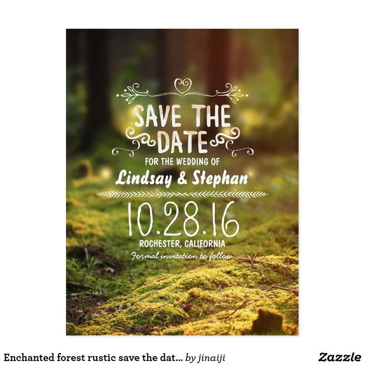 cruise wedding save the date announcement%0A Enchanted forest rustic save the date postcards