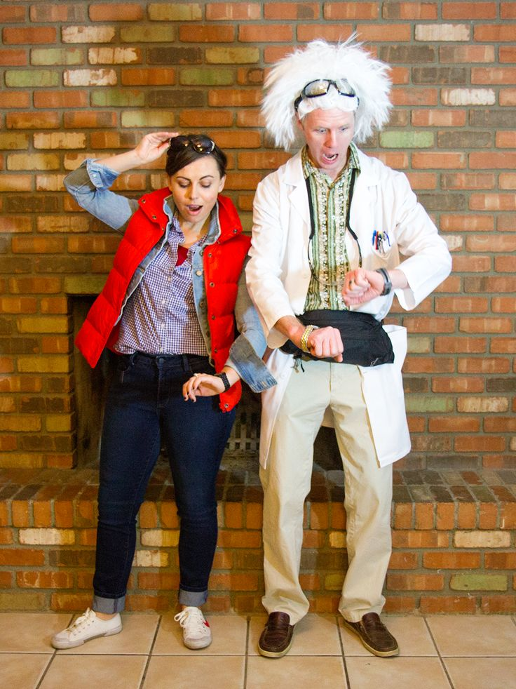 Couple's Halloween Costume: Back to the Future Marty Mcfly and Doc Brown #halloween #couplescostume
