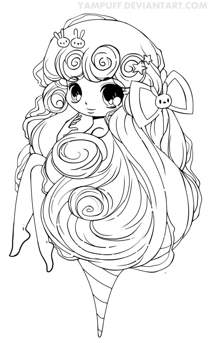Japanese princess coloring pages - Cotton Candy Lineart By Yampuff Deviantart Com On Deviantart