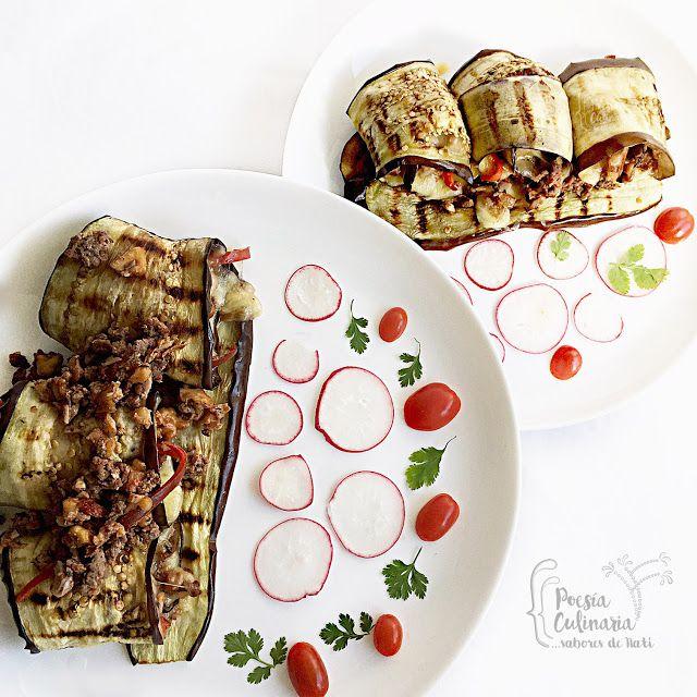 Paladares {Sabores de nati }: Rollitos de berenjenas rellenos de carne, nueces y mozarella. tomates cherry, berenjenas, berenjenas asadas, eggplant, queso mozzarella, nueces, berenjenas rellenas, asaltablogs, stuffed eggplant, eggplant, melanzane ripiene, #eggplant