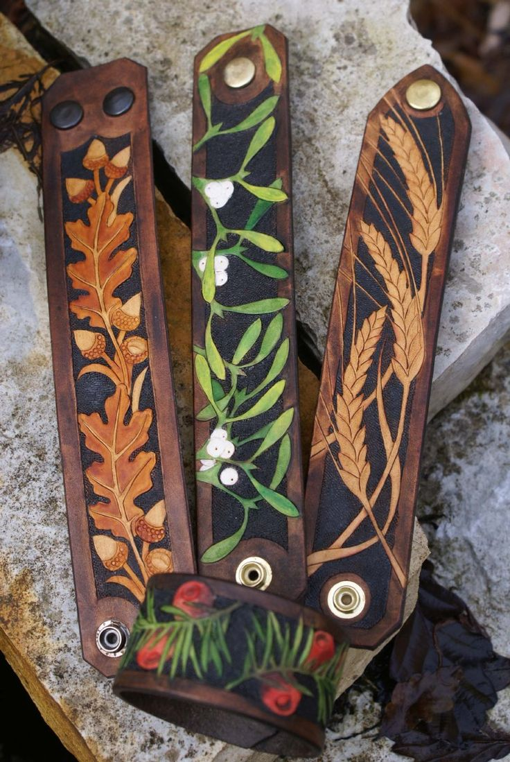 range of hand carved leather wristbands                                                                                                                                                      More