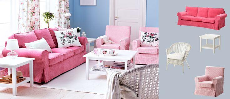 Ein wohnzimmer eingerichtet mit ektorp 3er sofa mit bezug for Ikea sofa rosa
