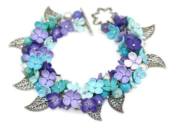 "Mint Purple Bracelet ""Lilac"" Feminine Jewelry Floral Bracelet Romantic Bracelet with Flowers Polymer Clay Turquoise Blue Lilac Flowers"