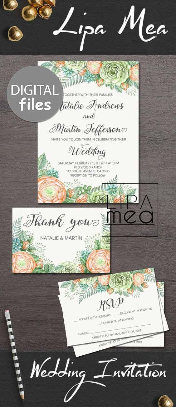 handmade wedding cards ireland%0A Green Wedding Invitation Floral Wedding invitation peach  u     Greenery wedding  trends  Floral wedding invitation