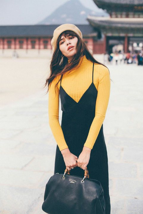 "Or ""How to Wear a Slip Dress Without Dying."" Shop this look: ASOS Wool Beret, $21; MANGO Scoop-Back Dress, $60; Monki High Neck Top, $18 Natalie off Duty"