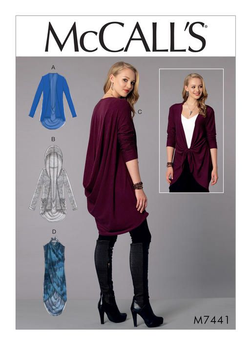 McCall's sewing pattern for knits. M7441 Misses' Back-Drape Jackets and Vest