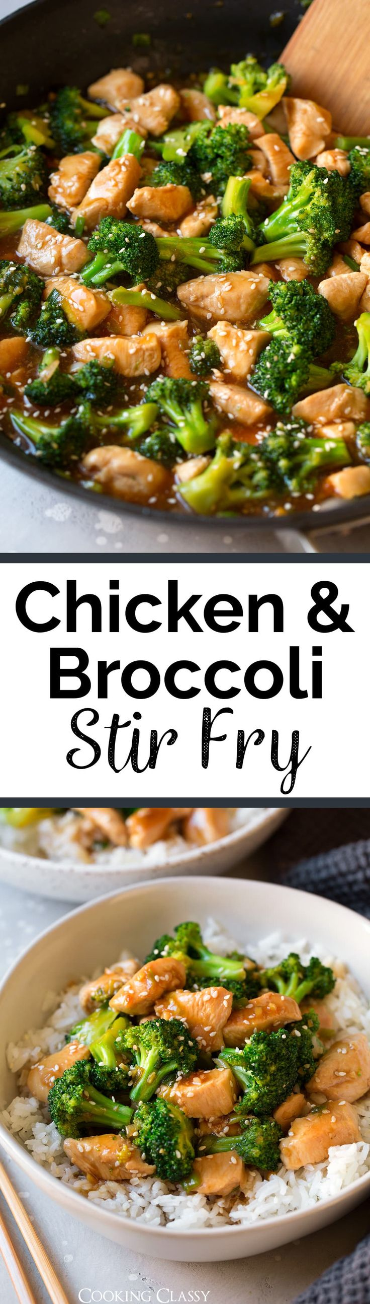 Chicken and Broccoli Stir Fry - Pan seared chicken and sautéed broccoli are covered in a sweet and salty teriyaki style sauce that will leave you wanting more! It's such an easy and flavorful recipe that's perfect for those hectic weekdays, plus it's sure to satisfy those Chinese take-out cravings.  via @cookingclassy
