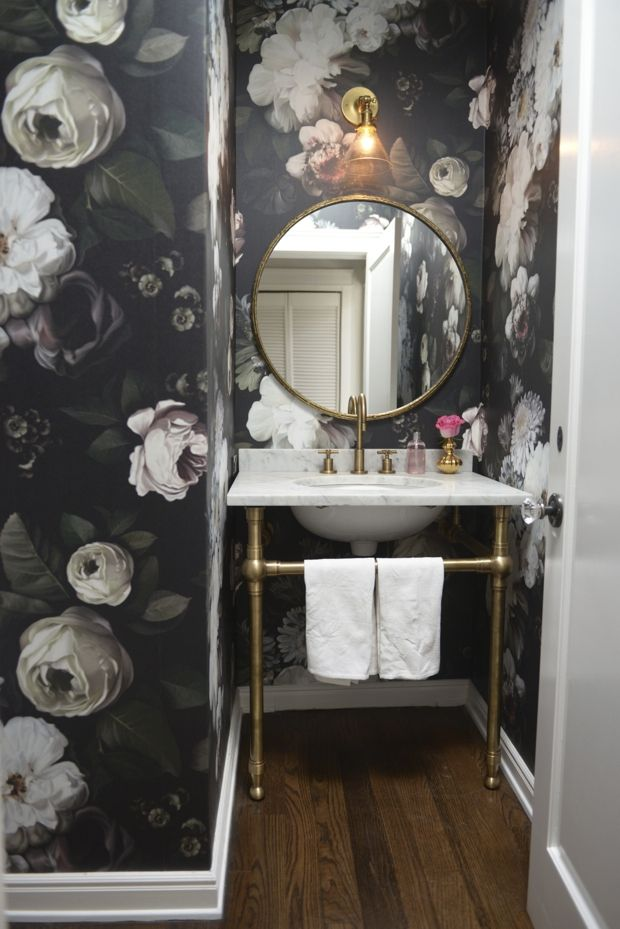 Floral wallpapered bathroom