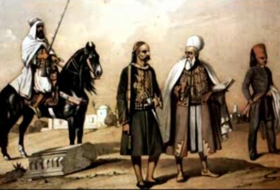 Milice turque de Tunis vers 1810 avec, de gauche à droite, un hamba (cavalier), un janissaire, un khodja (religieux turc) et un mamelouk de la garde du bey)