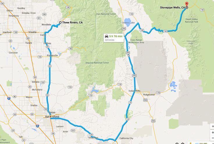 De Las Vegas au parc séquoia en couchant à Stovepipe Wells dans la Vallée de la mort. voyage-aux-etats-unis.com wp-content uploads 2014 12 itineraire-jour9.jpg