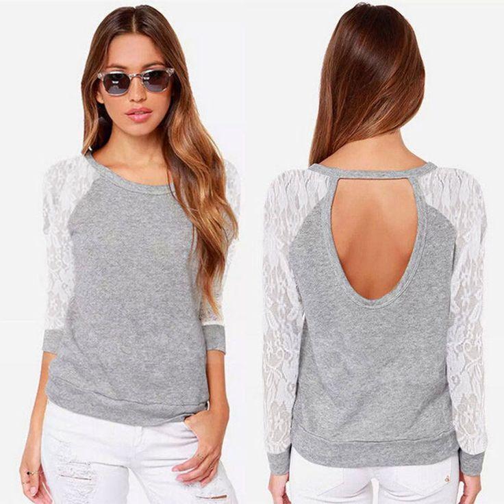 Aliexpress.com: Compre Mulheres blusas 2015 primavera outono mulheres manga comprida Backless blusas casuais camisa de renda blusa mulheres Tops Camisas Feminina de confiança camisa do real madrid fornecedores em Wendy Factory Direct Sales