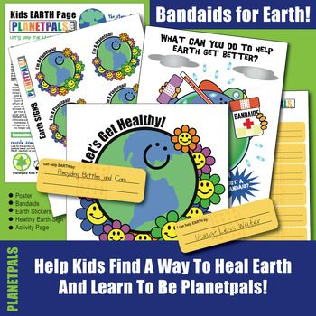 Earthday Save Earth Bandaids Healthy Planet Activity Lesson Stickers Sign Poster