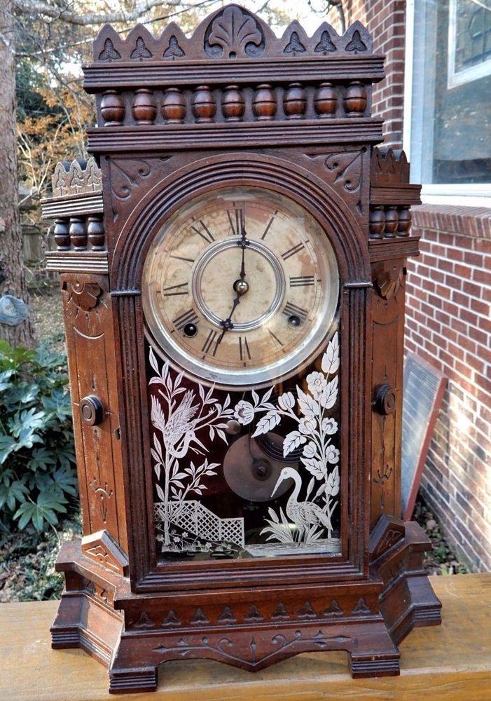 Antique VICTORIAN Eastlake Wm L Gilbert ALTA OAK Mantel Clock c1882 As Found #antique clock