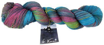 6 Karat Farbe 2152 Stadt-Land-Fluß von Schoppel 100g Wolle Lacegarn mit Seide  | eBay