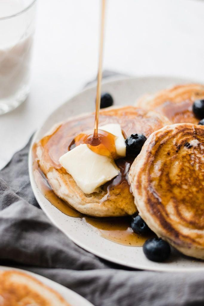 Our Favorite Blueberry Pancakes – Fluffy, light, and filled with juicy blueberri…