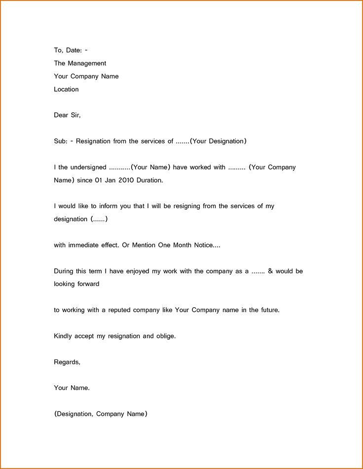 25 best ideas about Resignation sample – Short Simple Resignation Letter