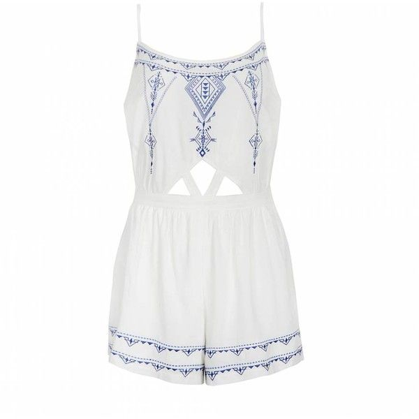 Ally Fashion China blue embroidered playsuit ($22) ❤ liked on Polyvore featuring jumpsuits, rompers, playsuit, dresses, jumper, romper, white, white jump suit, white cut out romper and white cut out jumpsuit