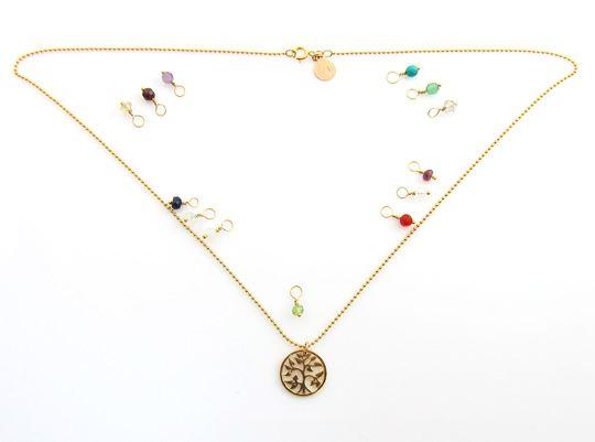 Geboortesteen ketting Tree of Life januari granaat | InTu jewelry