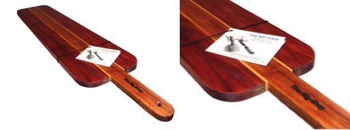 The Presentation Bat Board.  This magnificent board is perfect for displaying food on. This unique board is crafted from Tasmanian Blackwood with Celery Top highlights and sits on Blackwood legs for ease of handling.