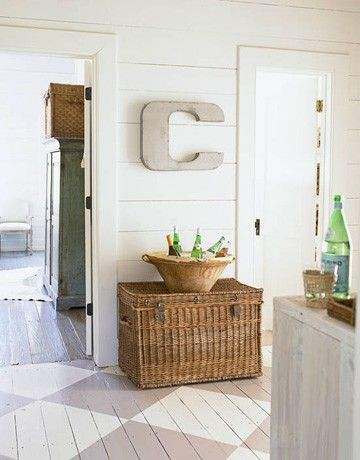monogram: Spaces, Paintings Wood Floors, Decor Ideas, Floors Design, Baskets, House, Letters, Paintings Floors, Beaches Cottages