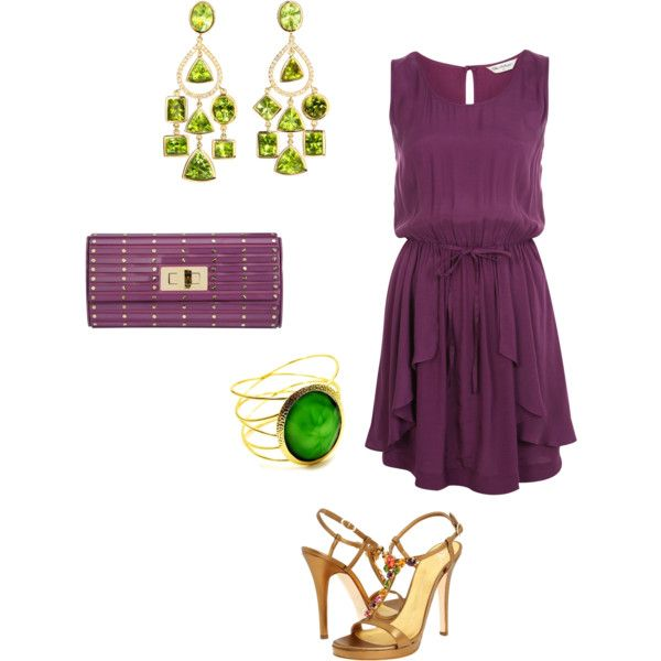Wow The Green Accessories With This Plum Colour Are A Combination For Summer Tail Party