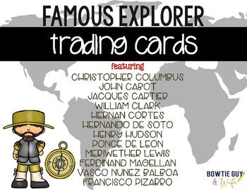 Want a fun way to introduce famous explorers? Look no further than this interactive trading card set that requires students to answer questions about the Age of Exploration!These trading cards are a simple, yet engaging way to have your students summarize their