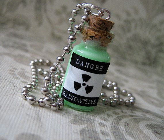 Radioactive / Glow in the Dark 1ml Glass Vial Bottle Pendant Necklace Charm - Toxic Poison