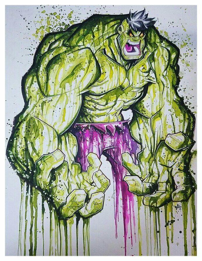 #Hulk #Fan #Art. (Commission: Hulk Saucy Watercolor Paint) By:RobDuenas. ÅWESOMENESS!!!™ ÅÅÅ+