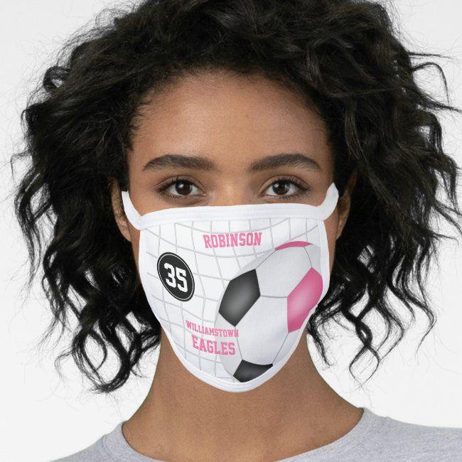 Cute Pink Black Girls Name Jersey Number Soccer Face Mask Zazzle Com In 2020 Face Mask Face Masks For Kids Skin Care Face Mask