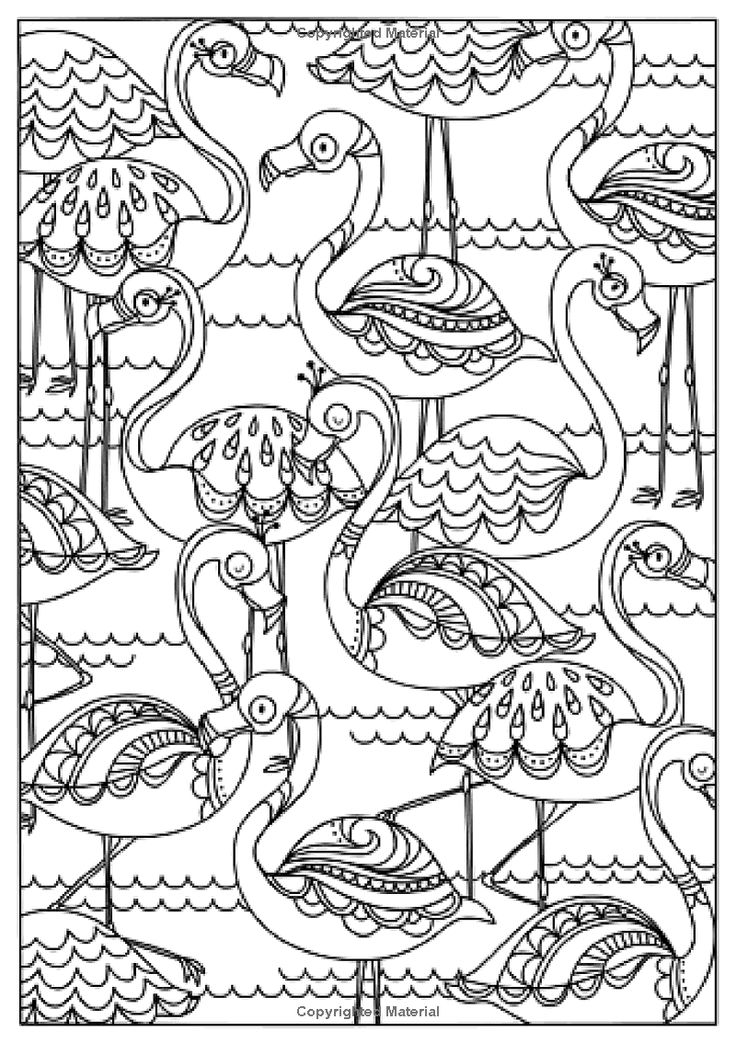 flamingo pretty pattern postcards coloring page