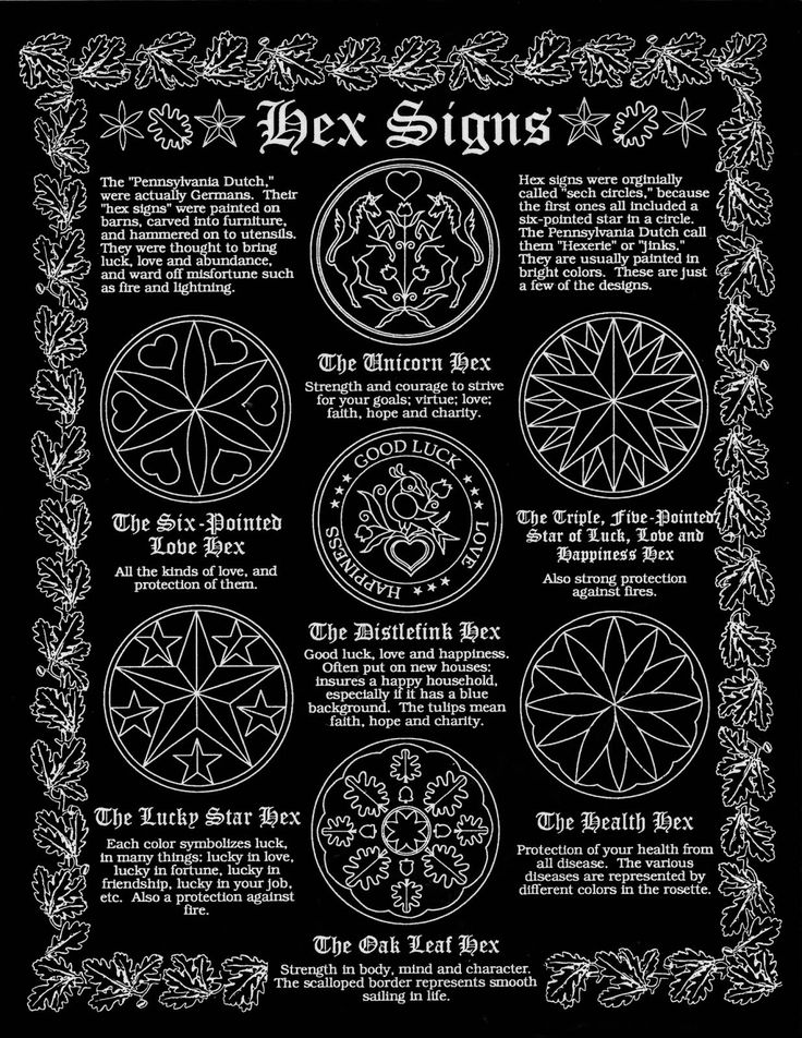 "Pennsylvania Dutch Hex Signs. The Pennsylvania Dutch were actually Germans. Their ""hex signs"" were painted on barns, carved into furniture, and hammered on to utensils. They were thought to bring..."