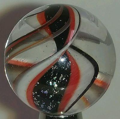 "Marble Handmade Glass Ribbon Core Lutz Aventurine Orange Black White .842"""