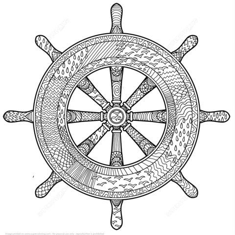 Timón de Barco Zentangle Dibujo para colorear