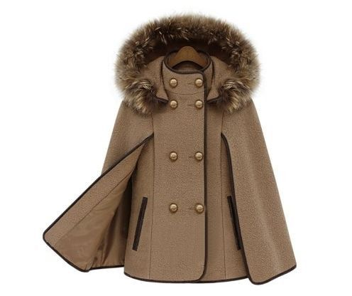 Womens Capes And Poncho Autumn Winter Wool Coat Women Removable Raccoon Hooded Fur Poncho Manteau Femme Cloak