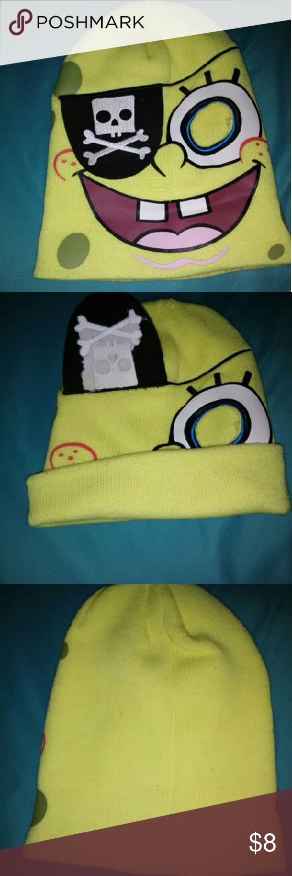 Nickelodeon SpongeBob squarepants winter hat Nickelodeon winter hat SpongeBob SquarePants  winter cap cool flip patch idea just for fun your ears,and heat will still be kept warm just a cool added idea to show to friends one size fits most Nickelodeon Accessories Hats
