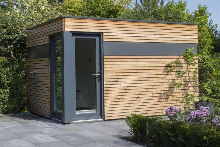 Design Gartenhaus mit Lärchenholz-Fassade