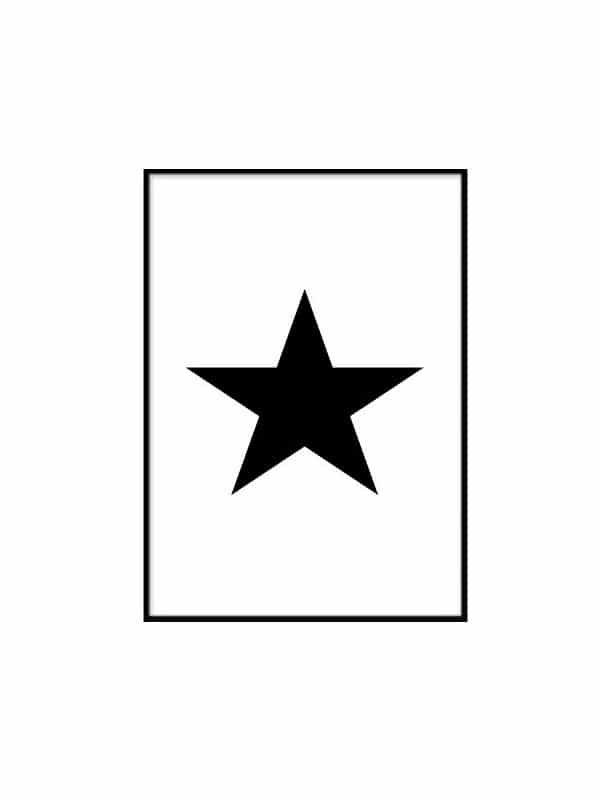 Poster – Svart stjarna - Storlek 21x30