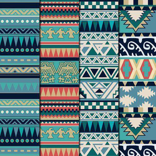 12 Nature Tones Aztec Pattern Digital Paper by DigitalMagicShop