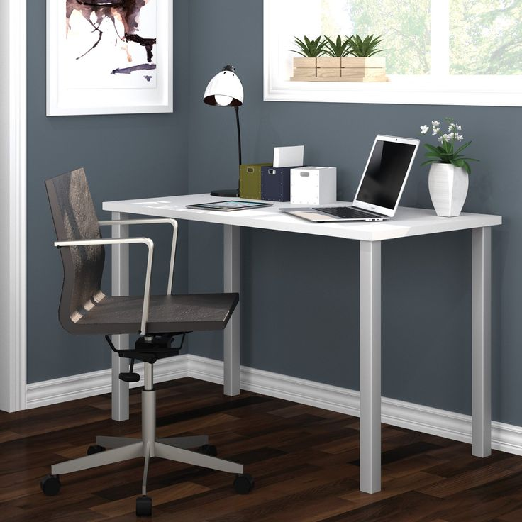 Bestar Work Surface Table with Square Metal Legs | from hayneedle.com
