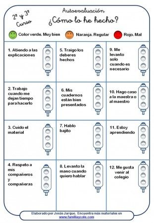 material para la autoevaluación del alumnado, segundo y tercer curso