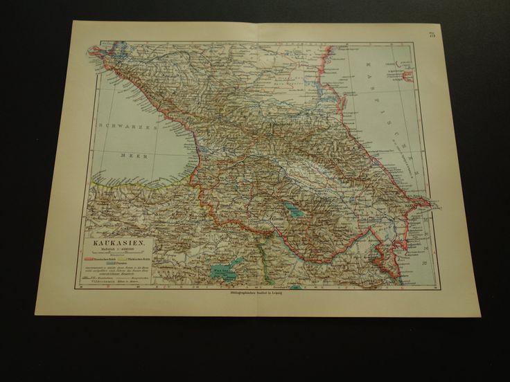 "CAUCASUS old map 1913 very detailed antique map of  Georgia Armenia Azerbaijan - original vintage maps Kaukasus Caucase - 25x33c 10x13"" by VintageOldMaps on Etsy"