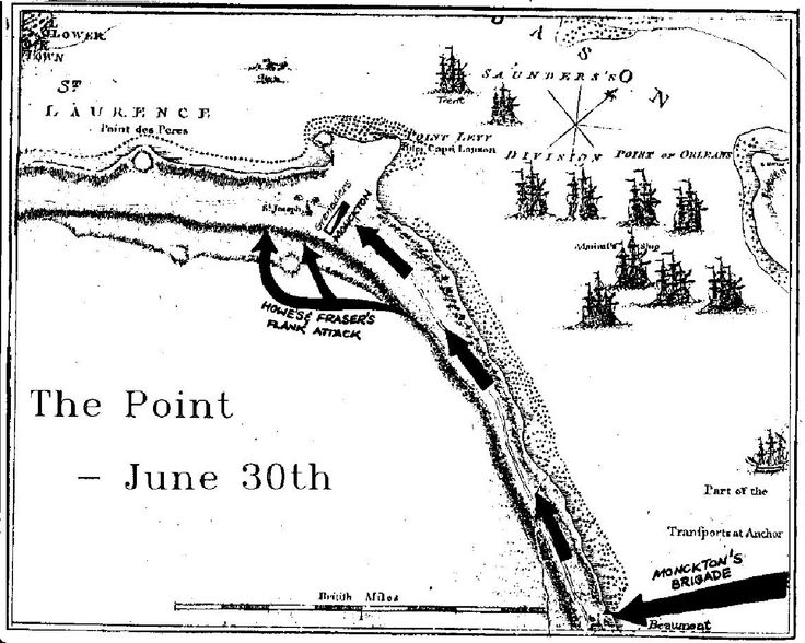 Chapter Four - The Point:-   A map showing the approach march on Point Levy by Monckton's Brigade and the flanking attack made by Howe's Lights and Fraser's Highlanders.