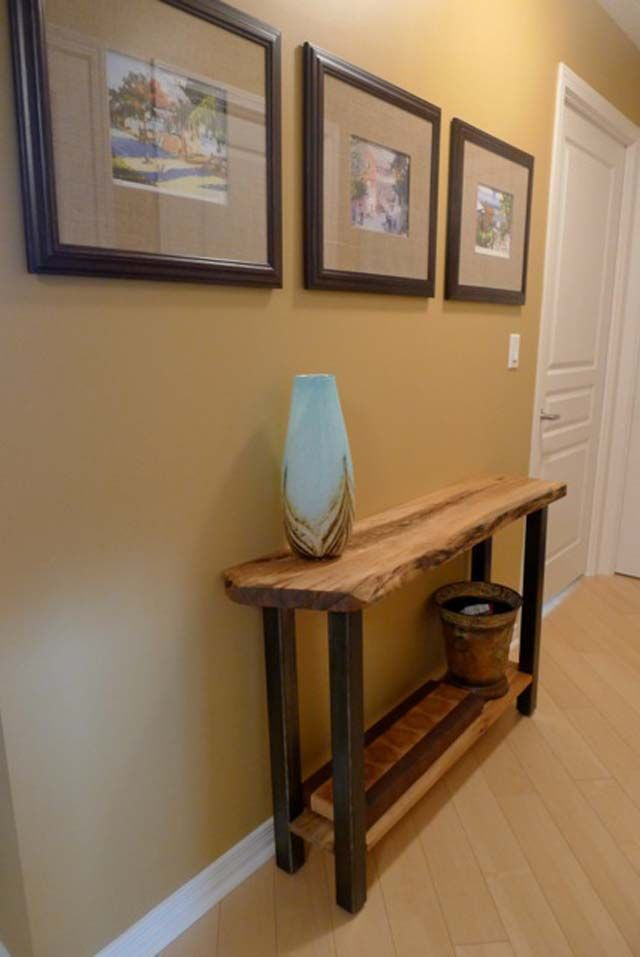 Solid Wood RECLAIMED NATURAL EDGE CONSOLE TABLE from Salvaged urban Toronto tree